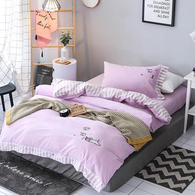 儿童水洗三件套 1.2m(4英尺)床 A纯色-B条纹/紫