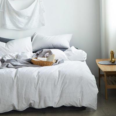 新款水洗棉四件套 1.5m(5英尺)床 深灰小格