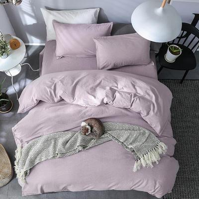 2019新款全棉仿麻四件套 1.8m床 素雅凝香-紫色