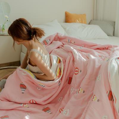 2021新款十层纯棉纱布毛巾被 110*110cm 气球粉