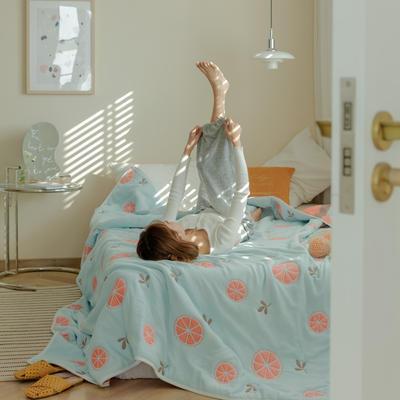 2021新款十层纯棉纱布毛巾被 110*110cm 橙子兰