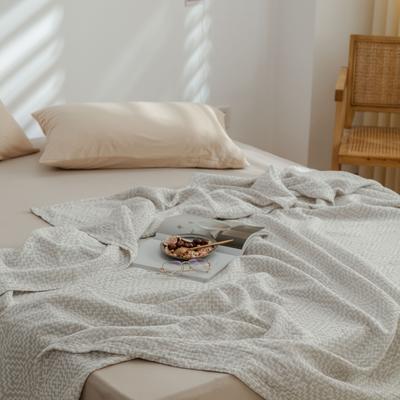 2021新款-水洗三层纱布毛巾被夏被夏凉被 150x200cm 回字格浅灰