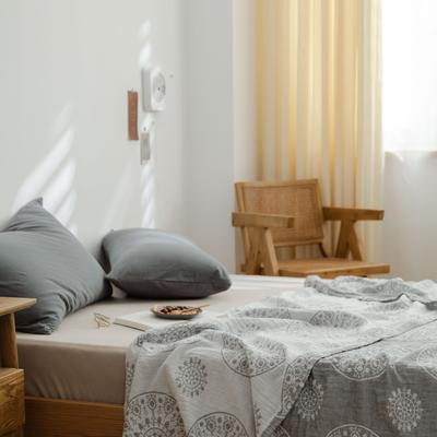 2021新款-水洗三层纱布毛巾被夏被夏凉被 150x200cm 青花瓷灰