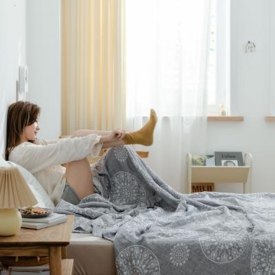 2021新款-水洗三层纱布毛巾被夏被夏凉被 150x200cm 青花瓷兰