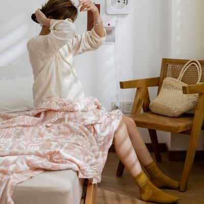 2021新款-水洗三层纱布毛巾被夏被夏凉被 150x200cm 仙人掌粉