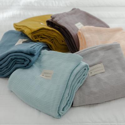 2021新款-A类全棉纱布针织盖毯毛巾被 100x150cm 浅灰