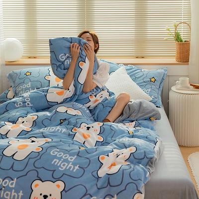 2021新款保暖高克重牛奶绒印花四件套 1.2米床单款三件套 抱抱熊