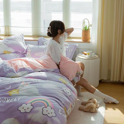 2021新款保暖高克重牛奶绒印花四件套 1.2米床单款三件套 彩虹云朵