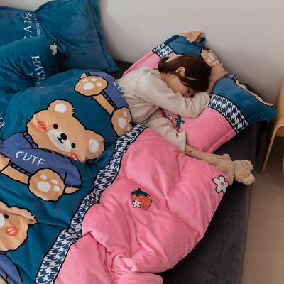 2021新款保暖高克重牛奶绒印花四件套 1.2米床单款三件套 草莓熊兰