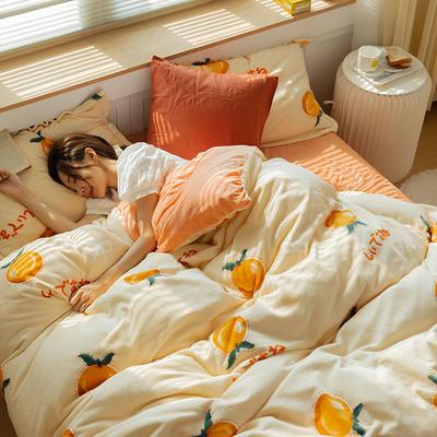 2021新款保暖高克重牛奶绒印花四件套 1.5米床单款四件套 小橘子