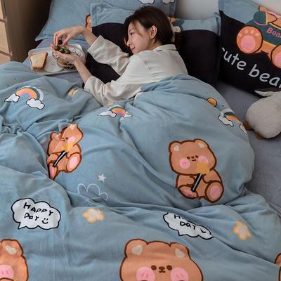 2021新款保暖高克重牛奶绒印花四件套 1.2米床单款三件套 小熊之家