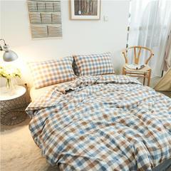 水洗棉基本款系列四件套七分格 小小号床笠款 蓝格