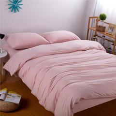 针织棉四件套纯色 小小号床笠款 纯粉