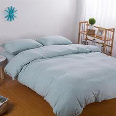针织棉四件套纯色 小小号床笠款 水绿