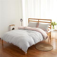 针织棉四件套经典条纹 小小号床笠款 粉灰细条