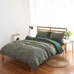 针织棉四件套经典条纹 小小号床笠款 墨绿中条