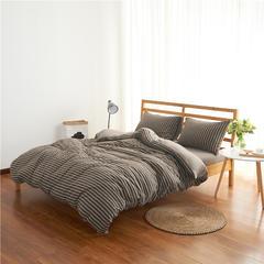 针织棉四件套经典条纹 小小号床笠款 深咖中条