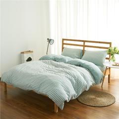 针织棉四件套经典条纹 小小号床笠款 水绿中条