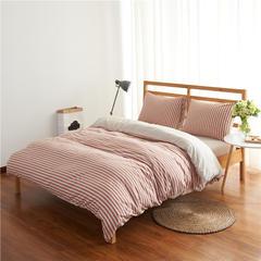 针织棉四件套经典条纹 小小号床笠款 棕红中条