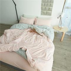 针织棉四件套撞色 小小号床笠款 粉灰撞色