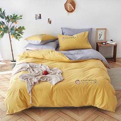 纯色全棉水洗棉绣花简约少女心床上用品四件套 1.2m(4英尺)床 草莓甜心-樱草黄