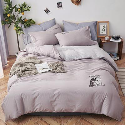 纯色全棉水洗棉绣花简约少女心床上用品四件套 1.2m(4英尺)床 吉祥二宝