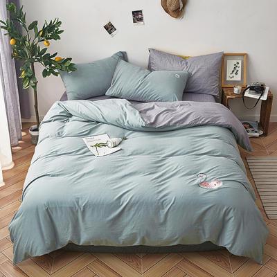 纯色全棉水洗棉绣花简约少女心床上用品四件套 1.2m(4英尺)床 甜蜜蜜-浅绿