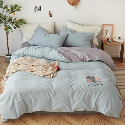 纯色全棉水洗棉绣花简约少女心床上用品四件套 1.2m(4英尺)床 小怪兽-凡星兰