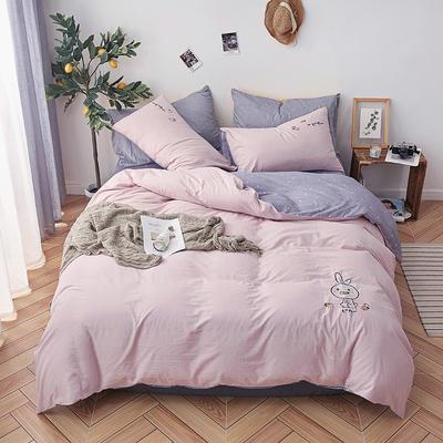 纯色全棉水洗棉绣花简约少女心床上用品四件套 1.2m(4英尺)床 小兔子-水粉