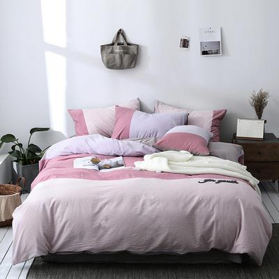 北欧ins风床上简约四件套全棉欧式水洗棉床单款 1.2m(4英尺)床 碧痕