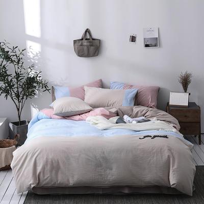 北欧ins风床上简约四件套全棉欧式水洗棉床单款 1.2m(4英尺)床 矜柔