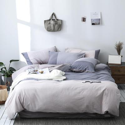 北欧ins风床上简约四件套全棉欧式水洗棉床单款 1.2m(4英尺)床 青笙