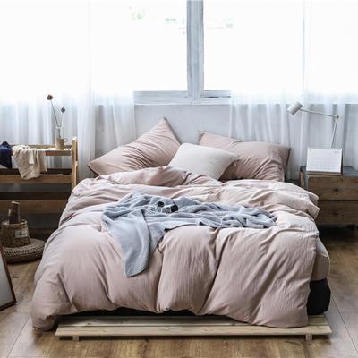 2019新款60S支水洗棉被套单件全棉纯棉被罩单人双人家纺简约纯色床上用品 1.5m床床笠款 淡裸色