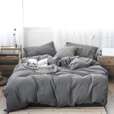 2019新款60S支水洗棉被套单件全棉纯棉被罩单人双人家纺简约纯色床上用品 1.5m床床笠款 精致灰