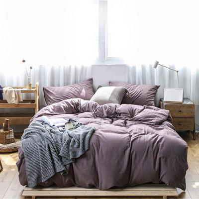 2019新款60S支水洗棉被套单件全棉纯棉被罩单人双人家纺简约纯色床上用品 1.5m床床笠款 咖啡紫