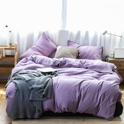 2019新款60S支水洗棉被套单件全棉纯棉被罩单人双人家纺简约纯色床上用品 1.5m床床笠款 罗兰紫