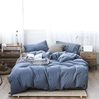 2019新款60S支水洗棉被套单件全棉纯棉被罩单人双人家纺简约纯色床上用品 1.5m床床笠款 牛仔蓝