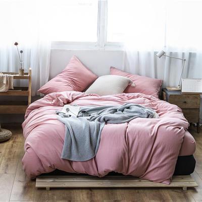 2019新款60S支水洗棉被套单件全棉纯棉被罩单人双人家纺简约纯色床上用品 1.5m床床笠款 少女粉