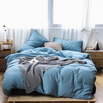 2019新款60S支水洗棉被套单件全棉纯棉被罩单人双人家纺简约纯色床上用品 1.5m床床笠款 星空蓝