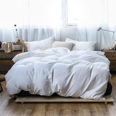 2019新款60S支水洗棉被套单件全棉纯棉被罩单人双人家纺简约纯色床上用品 1.5m床床笠款 优雅白
