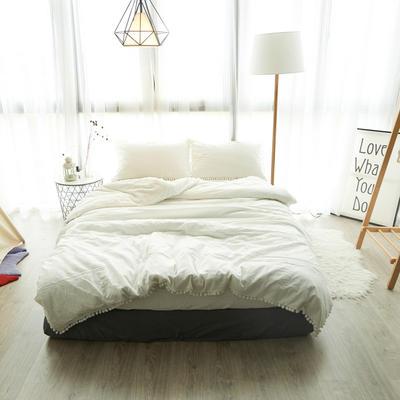 2019新款ins网红梨花球球纯色水洗棉四件套全棉简约纯棉床上用品被套单件 1.2m床床笠款 白色球球