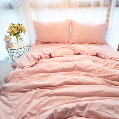 2019新款ins网红梨花球球纯色水洗棉四件套全棉简约纯棉床上用品被套单件 1.2m床床笠款 粉色球球