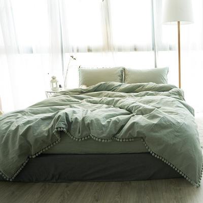 2019新款ins网红梨花球球纯色水洗棉四件套全棉简约纯棉床上用品被套单件 1.2m床床笠款 绿色球球
