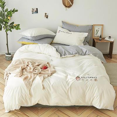2019新款水洗棉床上用品四件套全棉纯棉刺绣被套床单三件套简约1.5m床笠4 1.2m床床单款 草莓甜心-白