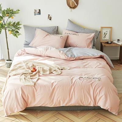 2019新款水洗棉床上用品四件套全棉纯棉刺绣被套床单三件套简约1.5m床笠4 1.2m床床单款 草莓甜心-烟粉