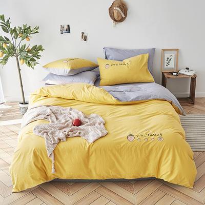 2019新款水洗棉床上用品四件套全棉纯棉刺绣被套床单三件套简约1.5m床笠4 1.2m床床单款 草莓甜心-樱草黄