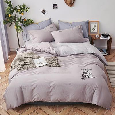 2019新款水洗棉床上用品四件套全棉纯棉刺绣被套床单三件套简约1.5m床笠4 1.2m床床单款 吉祥二宝