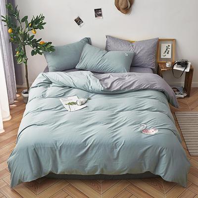 2019新款水洗棉床上用品四件套全棉纯棉刺绣被套床单三件套简约1.5m床笠4 1.2m床床单款 甜蜜蜜-浅绿
