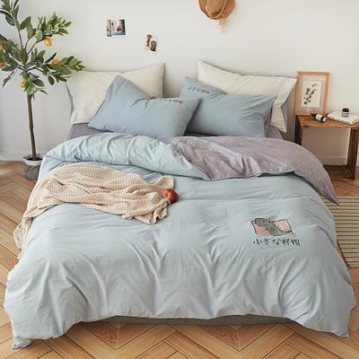 2019新款水洗棉床上用品四件套全棉纯棉刺绣被套床单三件套简约1.5m床笠4 1.2m床床单款 小怪兽-凡星兰