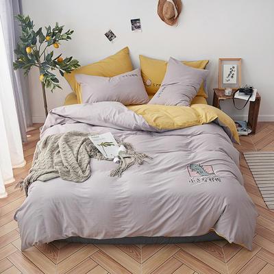 2019新款水洗棉床上用品四件套全棉纯棉刺绣被套床单三件套简约1.5m床笠4 1.2m床床单款 小怪兽-黄灰